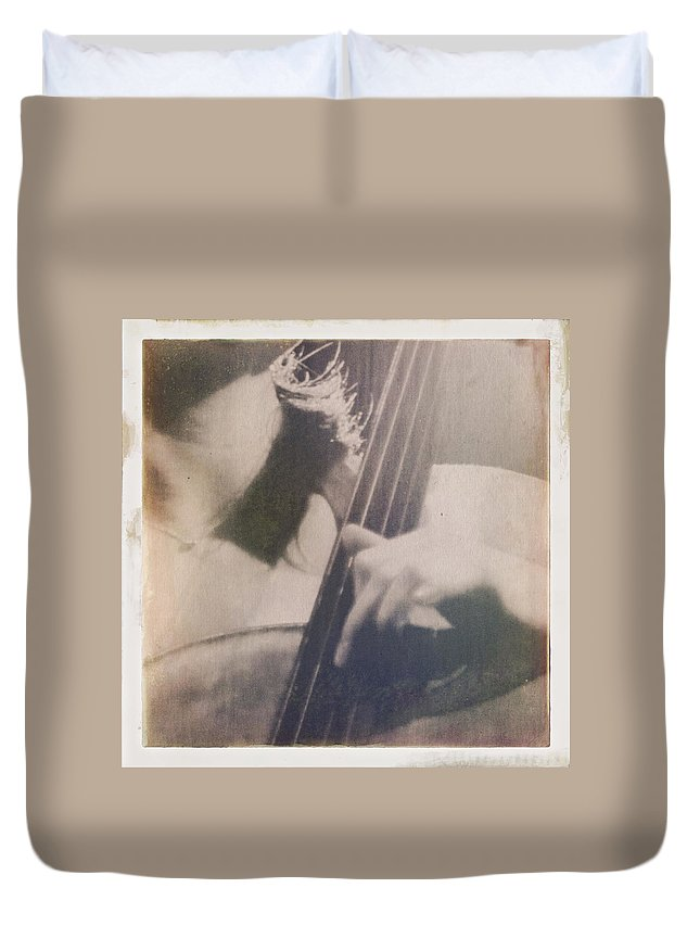 Music Duvet Cover featuring the photograph Cello Player by H James Hoff