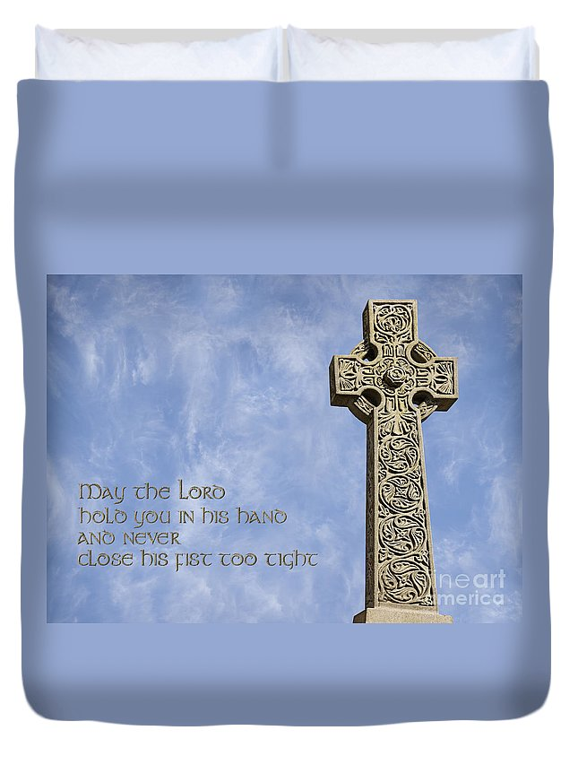 Celtic Cross Duvet Cover featuring the photograph Celtic Blessing 2 by Liz Leyden
