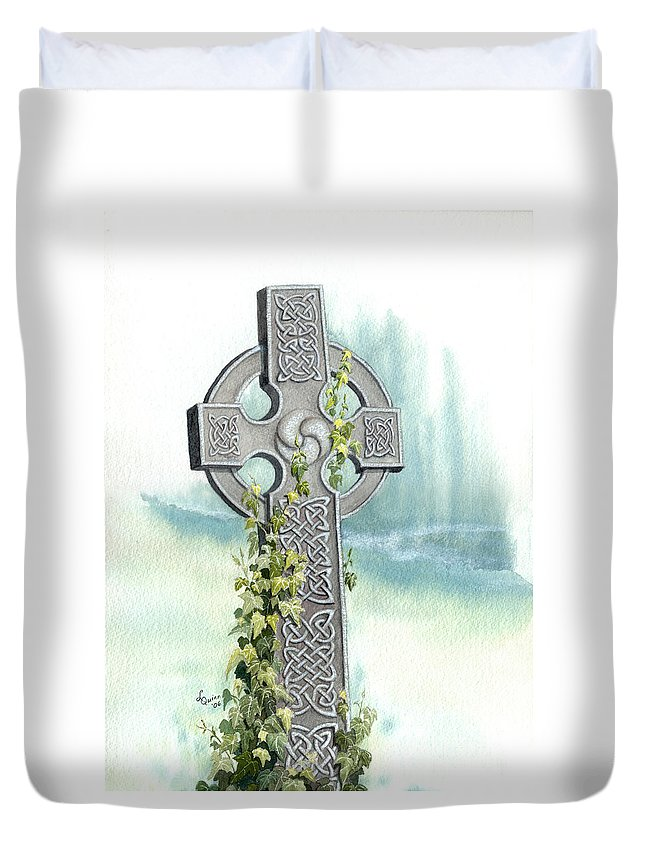 Celtic Cross Duvet Cover featuring the painting Celtic Cross With Ivy II by Lynn Quinn
