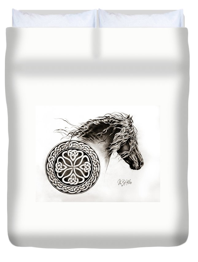 Blackhorse Duvet Cover featuring the drawing Celtic Friesian by Art Imago