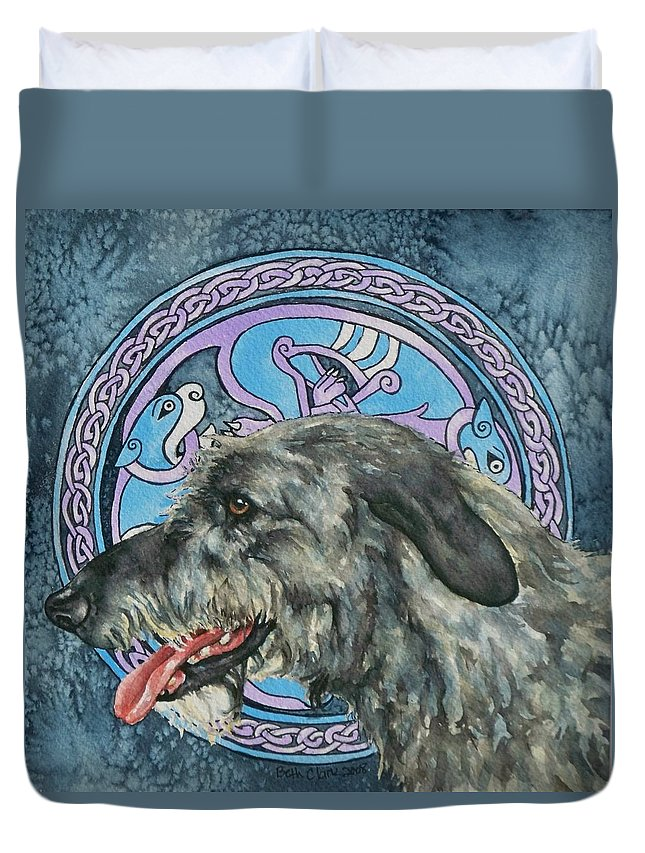 Celtic Duvet Cover featuring the painting Celtic Hound by Beth Clark-McDonal
