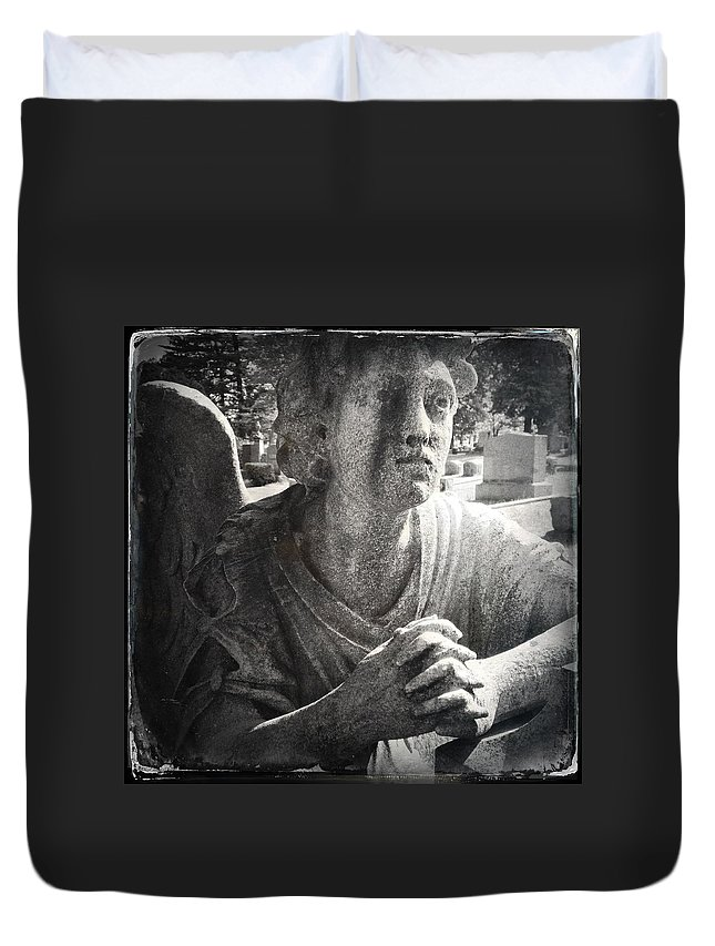 Angel Duvet Cover featuring the photograph Cemetary by H James Hoff