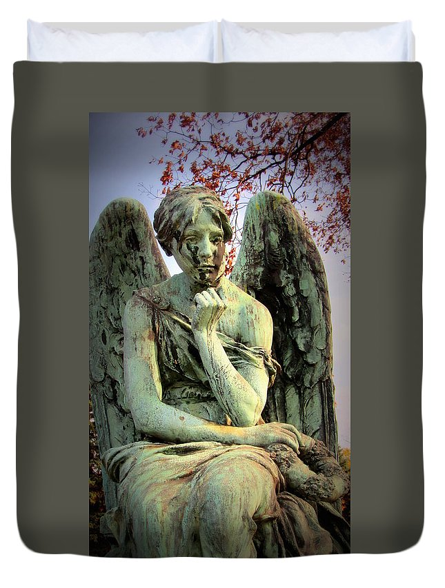 Cemetery Duvet Cover featuring the photograph Cemetery Angel 3 by Anita Burgermeister