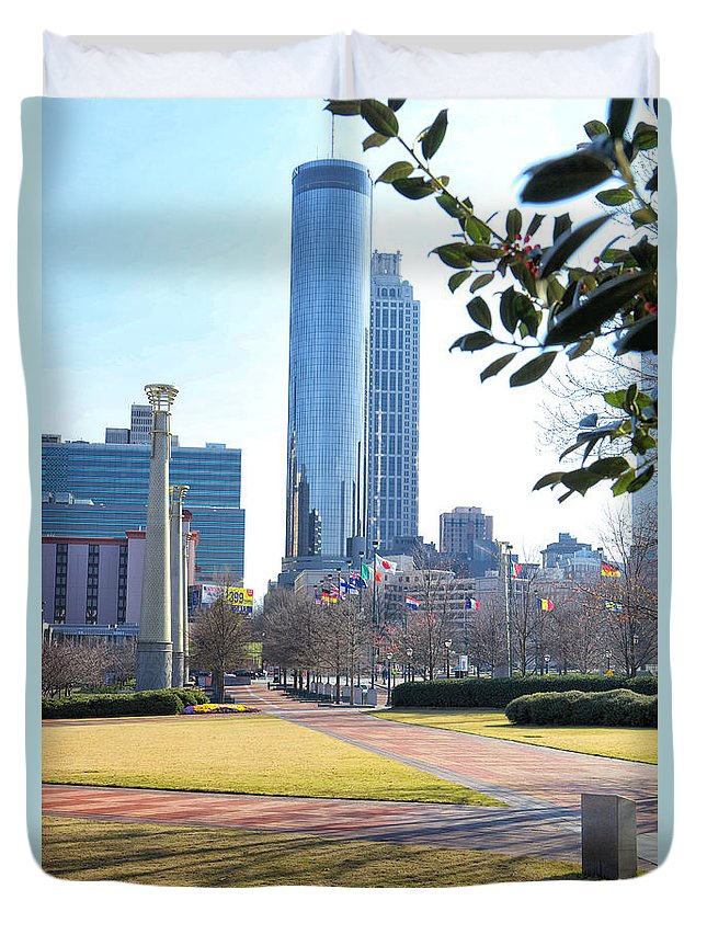 Centennial Olympic Park Duvet Cover featuring the photograph Centennial Olympic Park by Erika Weber