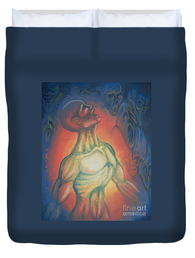 Tmad Duvet Cover featuring the painting Center Flow by Michael TMAD Finney