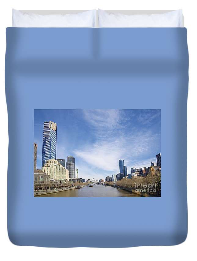 Architecture Duvet Cover featuring the photograph Central Melbourne Skyline By Day Australia by Jacek Malipan
