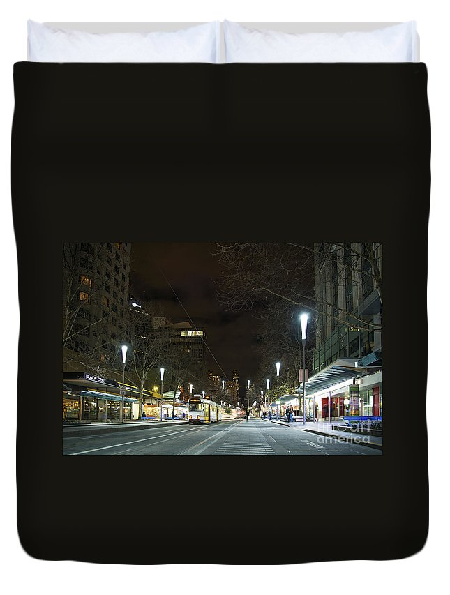 Architecture Duvet Cover featuring the photograph Central Melbourne Street At Night In Australia by Jacek Malipan