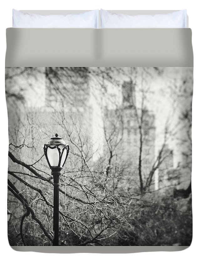 Nyc Duvet Cover featuring the photograph Central Park Lamppost In New York City by Lisa Russo