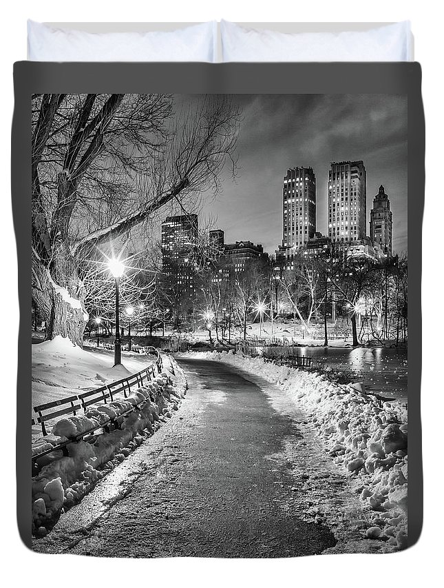 Snow Duvet Cover featuring the photograph Central Park Path Night Black & White by Michael Lee