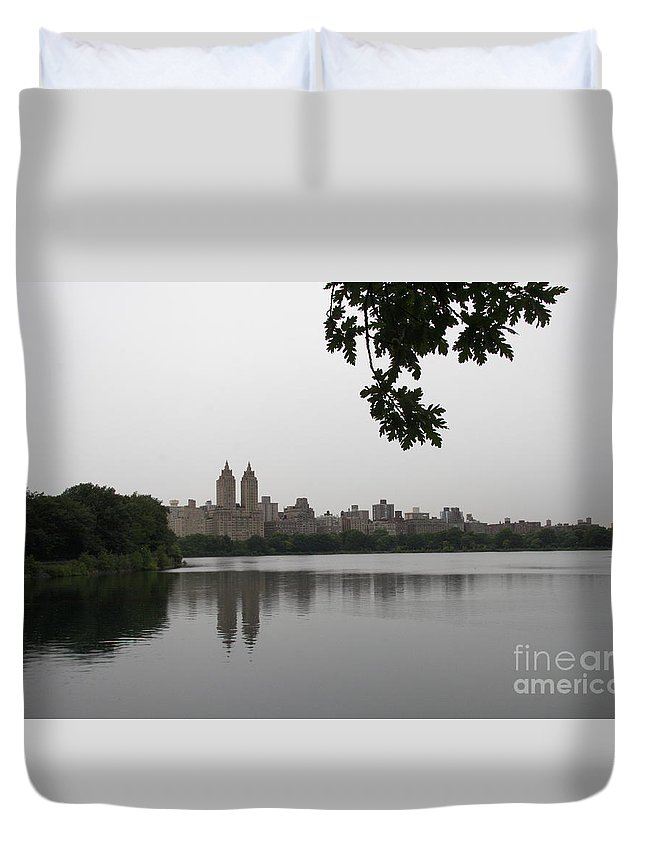 Water Basin Duvet Cover featuring the photograph Central Park Reservoir With Reflection Nyc by Christiane Schulze Art And Photography