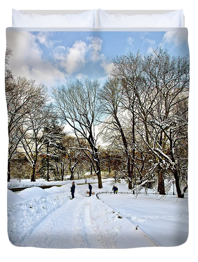 Snow Duvet Cover featuring the photograph Central Park Snow Storm One Day Later2 by Madeline Ellis