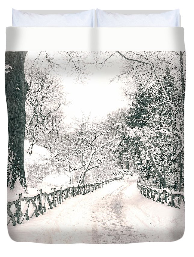 Nyc Duvet Cover featuring the photograph Central Park Winter Landscape by Vivienne Gucwa
