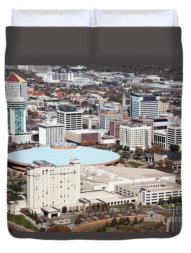 Aerial Duvet Cover featuring the photograph Century II Convention Hall And Downtown Wichita by Bill Cobb