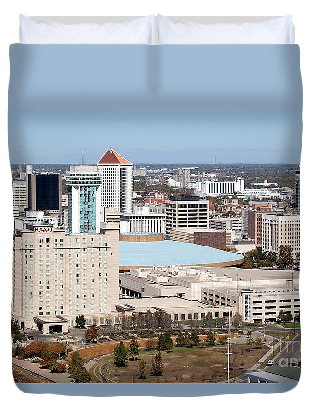 Aerial Duvet Cover featuring the photograph Century II Convention Hall And Hyatt by Bill Cobb