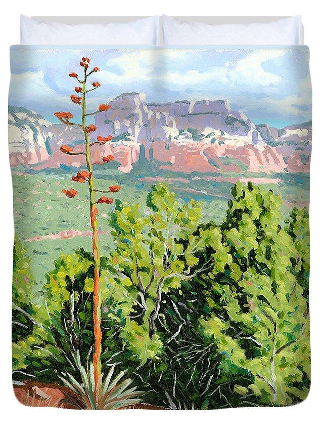 Century Plant Duvet Cover featuring the painting Century Plant - Sedona by Steve Simon