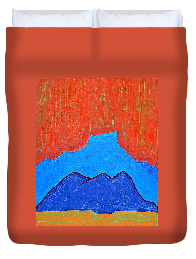 Mountain Duvet Cover featuring the painting Cerro Pedernal Original Painting Sold by Sol Luckman