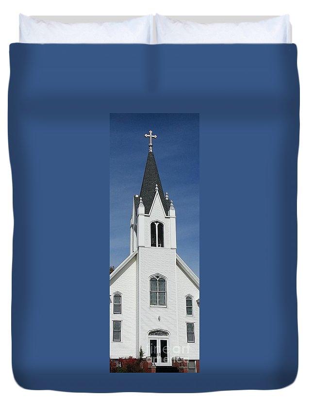 Church Duvet Cover featuring the photograph Cerulean Calling by Caryl J Bohn