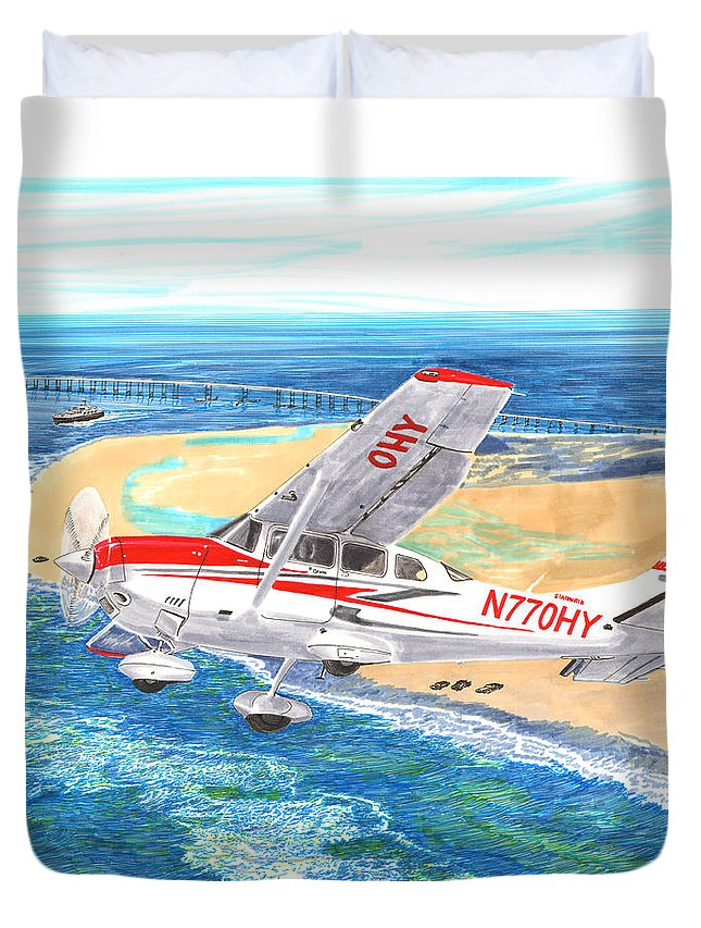 Thank You For Buying A 9 X 12 Wood Print To The Customer From Florida Duvet Cover featuring the painting Cessna 206 Flying Over The Outer Banks by Jack Pumphrey