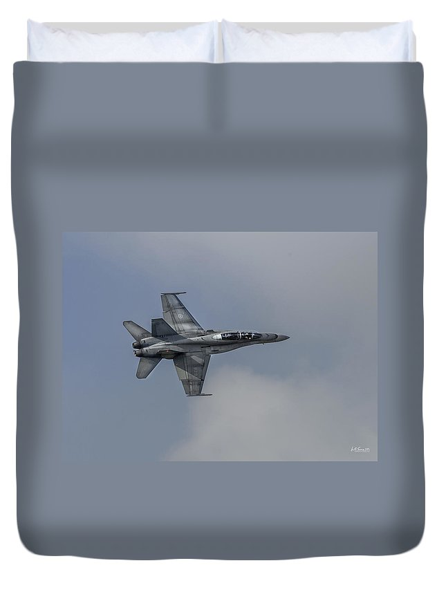 Rcaf Duvet Cover featuring the photograph Cf-18 Hornet by Urbanmoon Photography