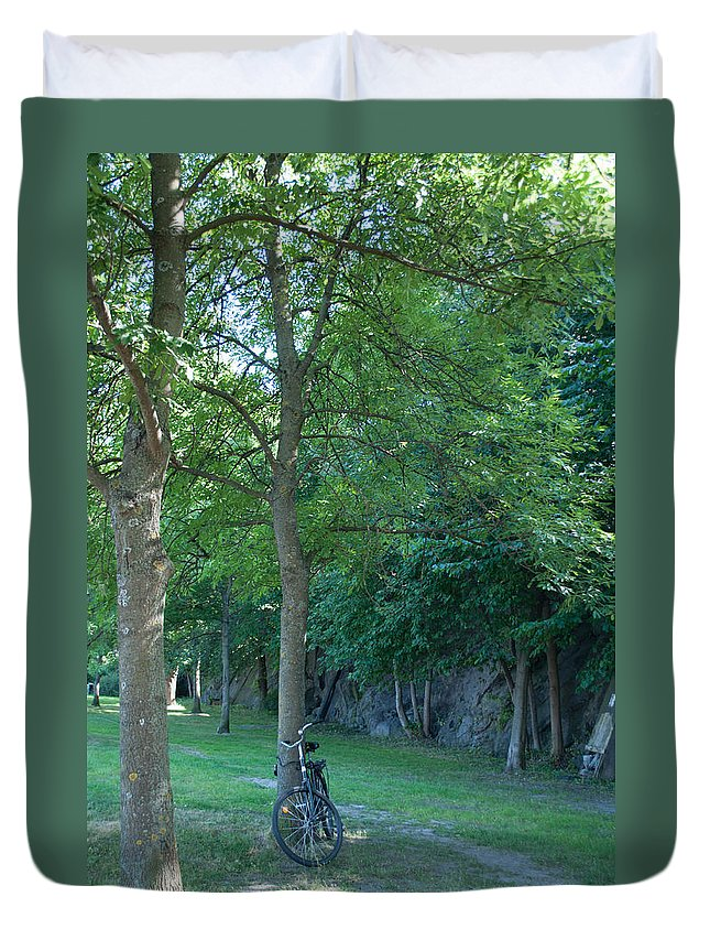 Bicycle Duvet Cover featuring the photograph Chained To A Tree by Jill Mitchell
