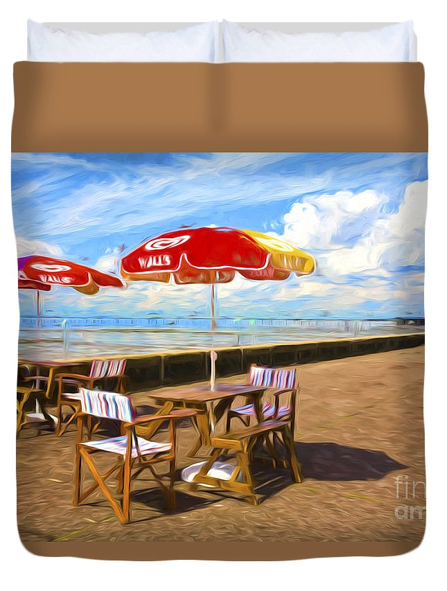 Southend On Sea Duvet Cover featuring the photograph Chairs and umbrellas at Southend on Sea by Sheila Smart Fine Art Photography