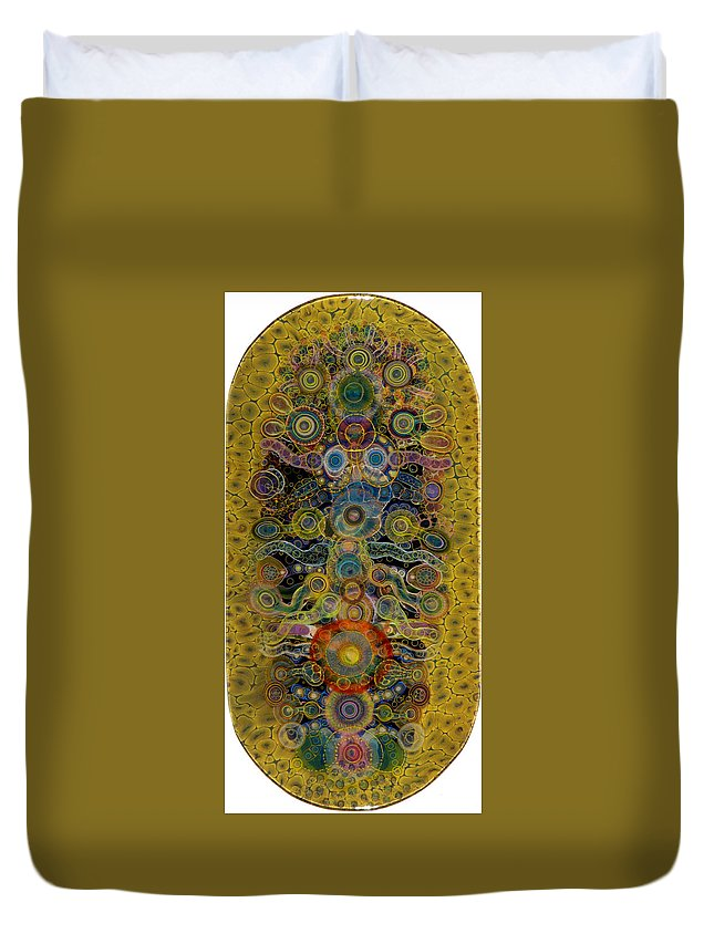 Painting Duvet Cover featuring the painting Chakra Shield by Bruce Riley