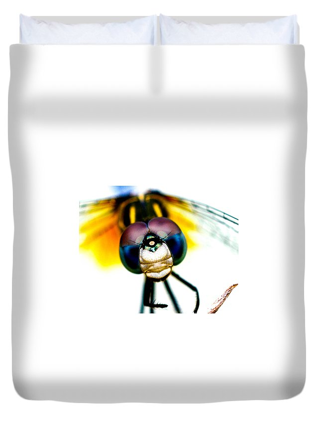 Dragonfly Duvet Cover featuring the photograph Chakra Warrior by Lisa Renee Ludlum