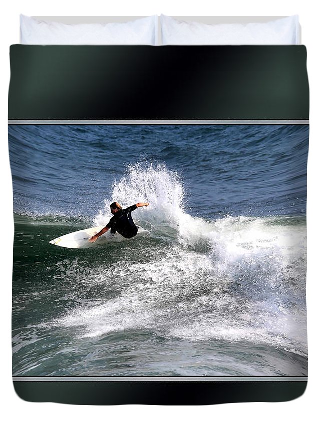 Surfing Poster Duvet Cover featuring the photograph Challenge Yourself-surf by Tom Prendergast