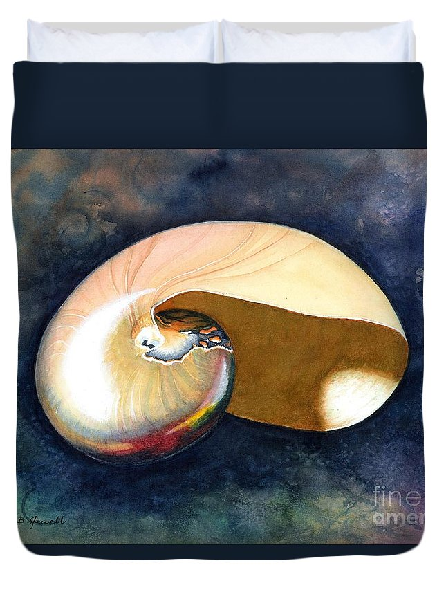 Shell Duvet Cover featuring the painting Chambered Nautilus by Barbara Jewell