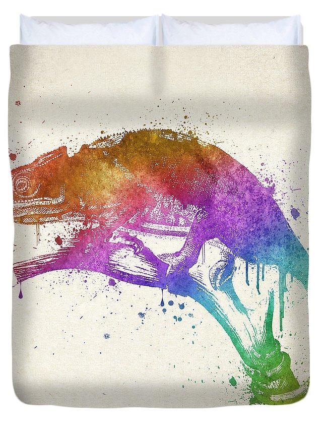 Chameleon Duvet Cover featuring the digital art Chameleon Splash by Aged Pixel
