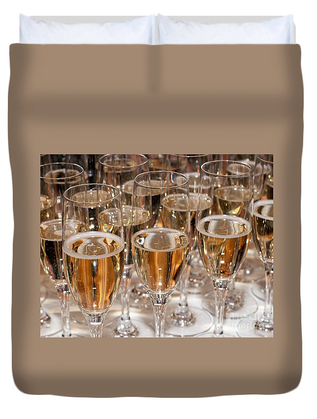 Champagne Duvet Cover featuring the photograph Champagne 01 by Rick Piper Photography