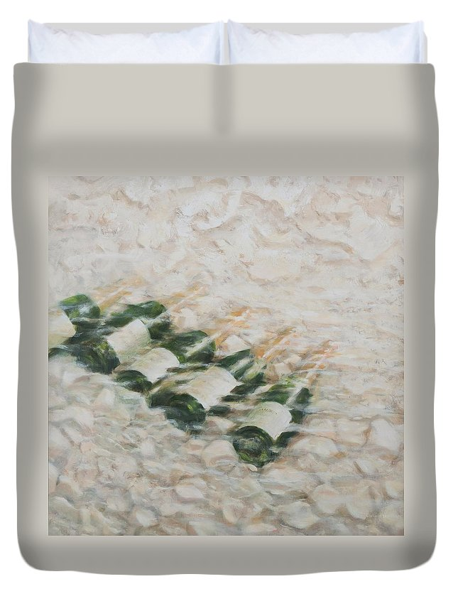 Champagne; Alcohol; Drink; Alcoholic; Celebration; Cool; Cooling; Chill; Chilled; Water; Stream; Pebbles; Duvet Cover featuring the painting Champagne Cooling by Lincoln Seligman