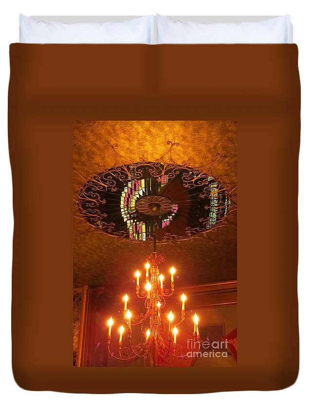 Chandelier Photographs Duvet Cover featuring the photograph Chandelier At The Brown Palace In Denver by John Malone