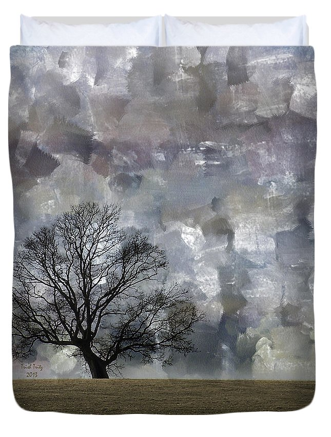 Tree Duvet Cover featuring the mixed media Change Is Gonna Come by Trish Tritz