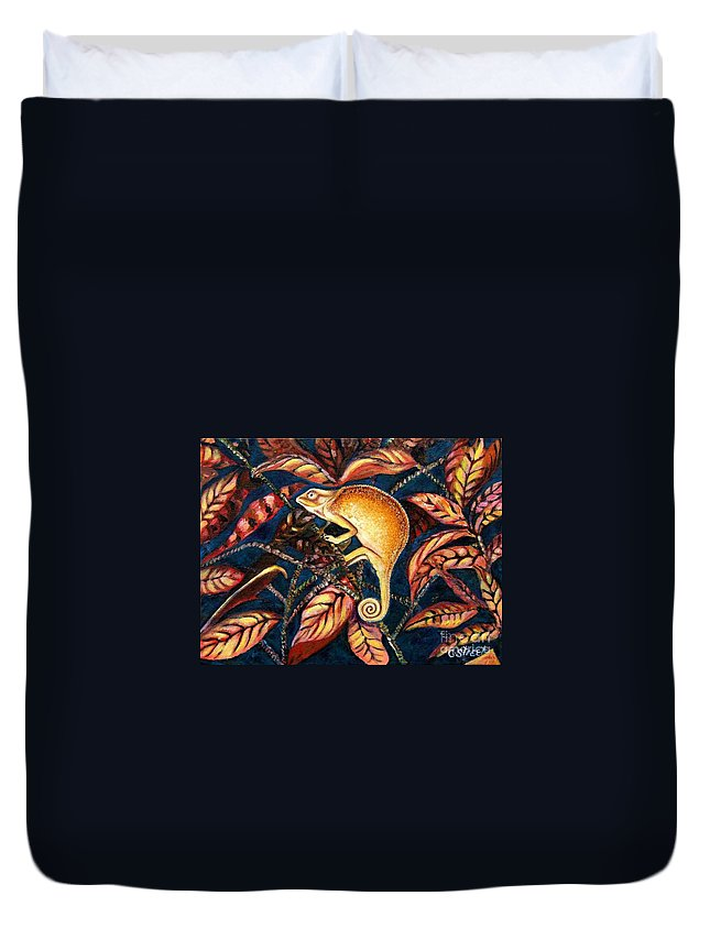 Chameleon Duvet Cover featuring the painting Changing Colors by Caroline Street