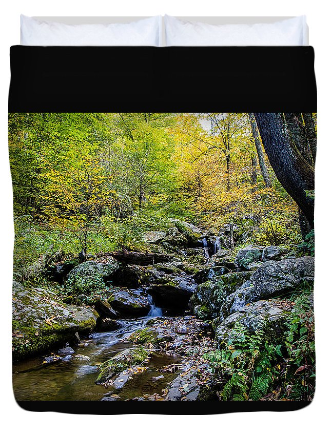 Dark Hollows Falls Duvet Cover featuring the photograph Changing Of The Season by Kaye Seaboch