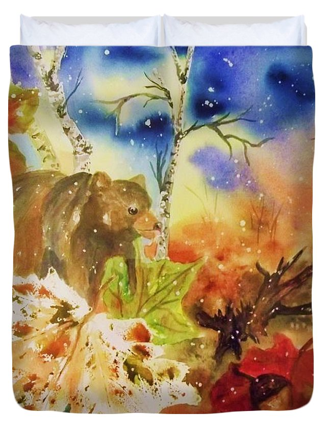 Bear Duvet Cover featuring the painting Changing Of The Seasons by Ellen Levinson