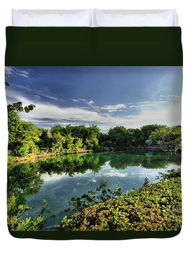Chankanaab Duvet Cover featuring the photograph Chankanaab Lagoon Reflections by Adam Jewell