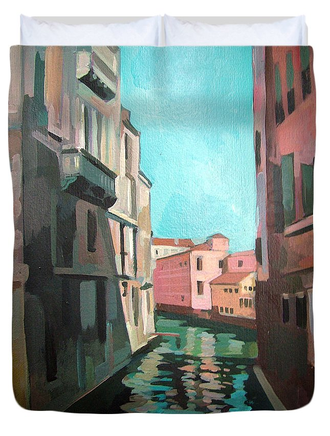 Venice Duvet Cover featuring the painting Channel by Filip Mihail