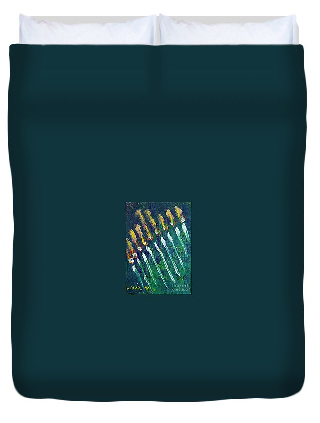Chanukah Duvet Cover featuring the painting Chanukiah In The Dark by Laurie Morgan