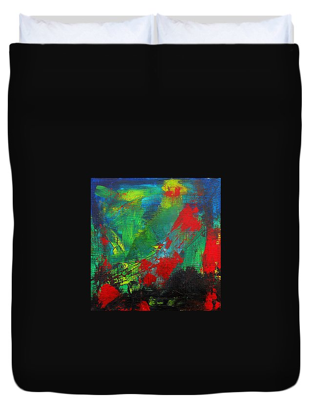 Art Duvet Cover featuring the painting Chaotic Hope by Patricia Awapara