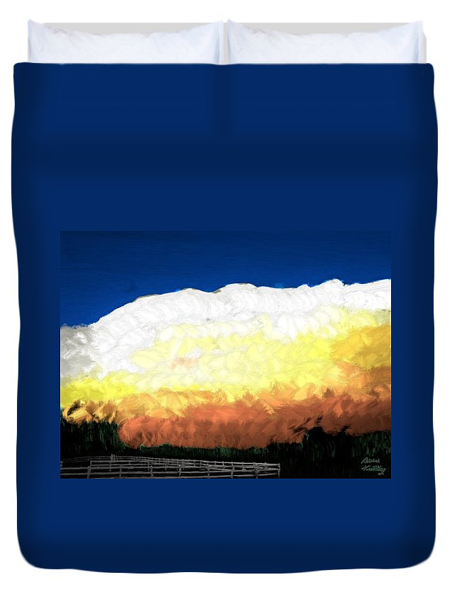 Clouds Duvet Cover featuring the painting Chaparra Supercell At Sunset by Bruce Nutting