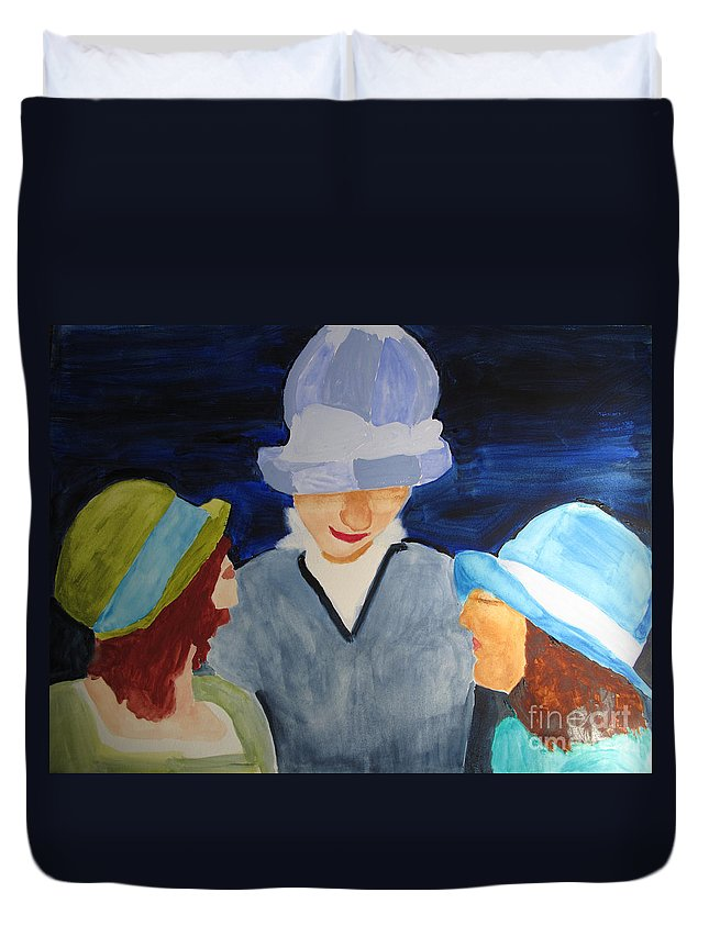 Women Duvet Cover featuring the painting Chapeaux Trois by Sandy McIntire