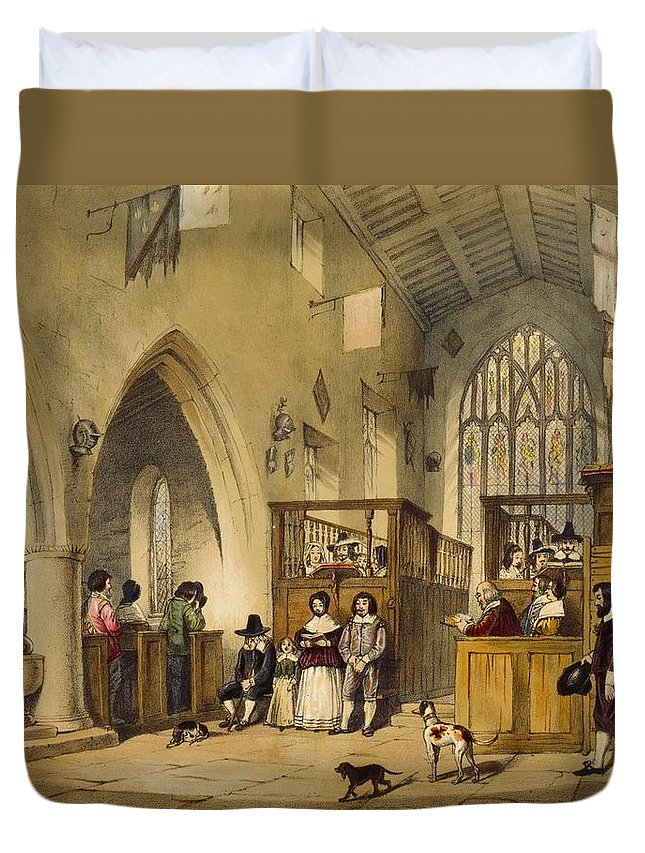 Chapel Duvet Cover featuring the drawing Chapel At Haddon Hall, Derbyshire by Joseph Nash