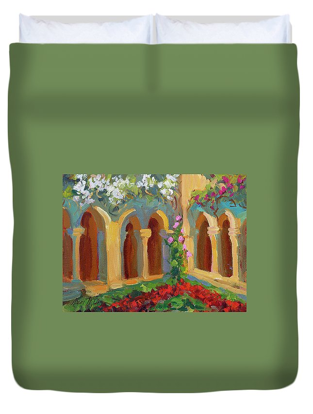 Chapel At St. Remy Duvet Cover featuring the painting Chapel At St. Remy by Diane McClary