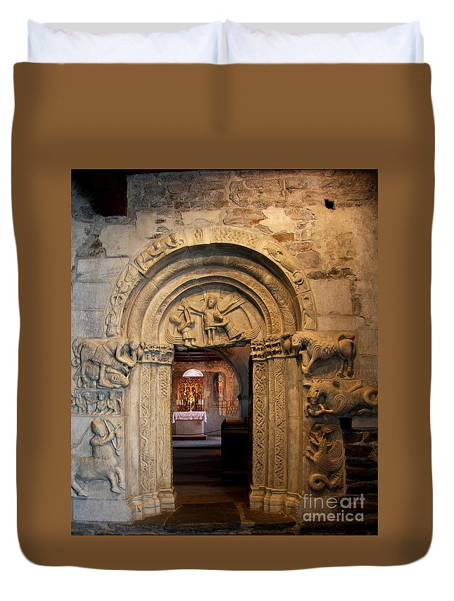 Chapel Duvet Cover featuring the photograph Chapel Entrance by Christiane Schulze Art And Photography