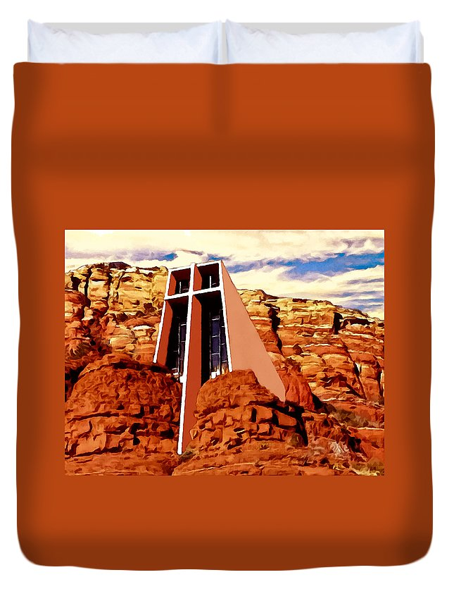Architectural Duvet Cover featuring the painting Chapel Of The Holy Cross by Bob and Nadine Johnston