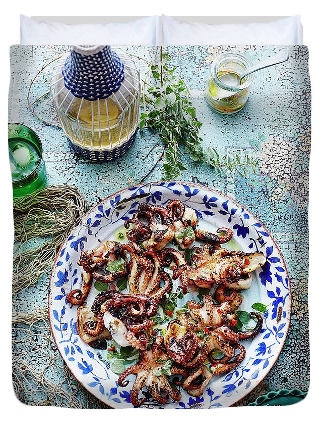 Temptation Duvet Cover featuring the photograph Chargrilled Lemon Oregano Octopus by Brett Stevens