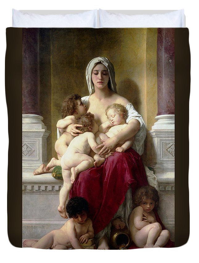 Christ Duvet Cover featuring the painting Charity by William Bouguereau