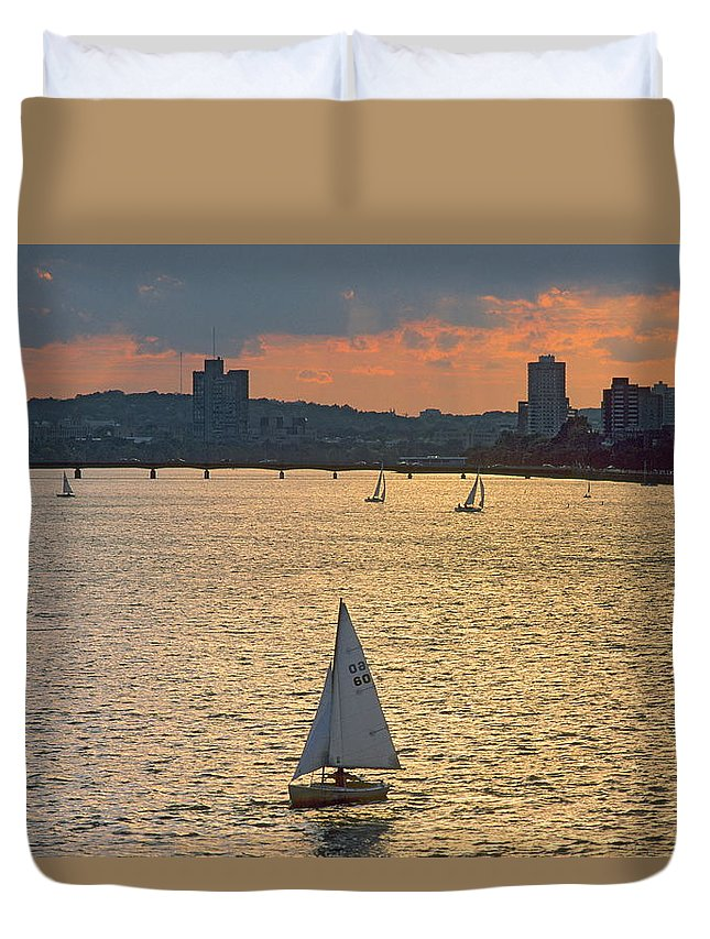 Tranquility Duvet Cover featuring the photograph Charles River, Boston by Franz Marc Frei